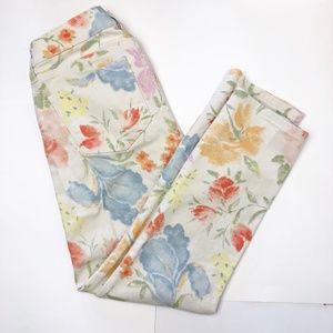 LRL Lauren Jeans Co Size 4P Cream Floral EUC
